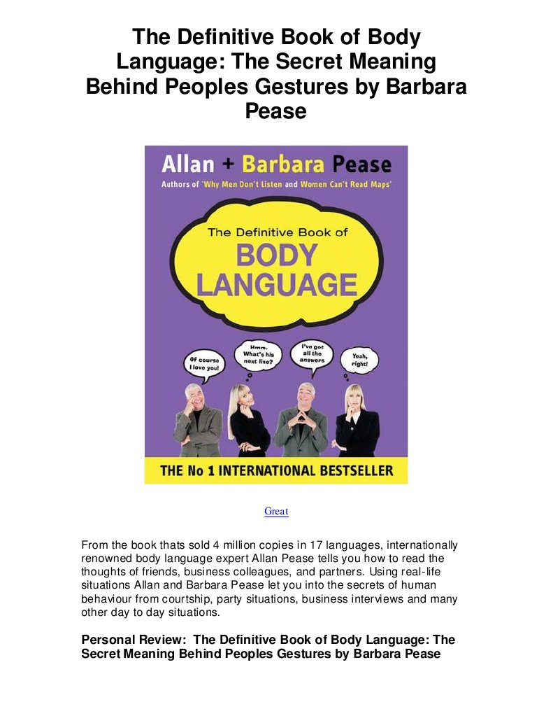 The definitive book of body language the secret meaning behind peoples gestures by barbara pease 5 star review