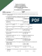 Diagnostic Exam in Math 9