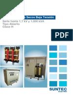 Catalogo Transformador Seco Baja Tension Tipo Abierto 1.1 Kv