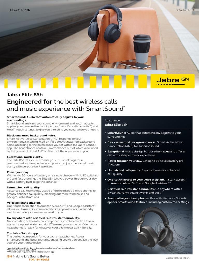 Jabra Elite 85h Datasheet WEB | Bluetooth | Headphones