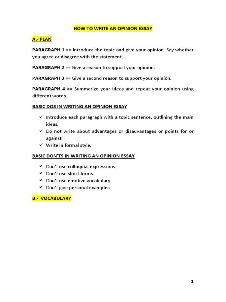 How To Write An Opinion Essay  PDF  Energy Development  Adolescence