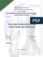 Factores Humanos en Los Problemas Industriales