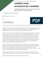 A Perícia Contábil Como Atribuição Exclusiva Do Contador (Tributário) - Artigo Jurídico - DireitoNet