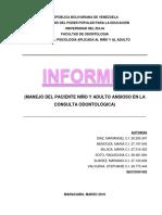 Manejo Del Paciente Niño y Adulto Ansioso en La Consulta Odontologica