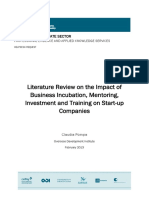 Literature Review on the Impact of Incubation Investment Training20