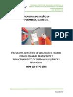 P.E.S.H Manejo y Almacenamiento de Sustancias Quimicas