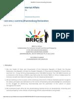 10th BRICS Summit Johannesburg Declaration