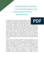 El Derecho de Propiedad Venezolana Incidencia en El Derecho Agrario y Las Técnicas Operativas de La Administración