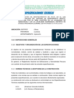 Especific. Tecnicas Sistema de Saneamiento Huarasaca Senccache