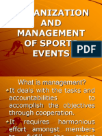 Organization and Mgt of Sports Events