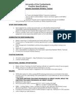 UC Atthletic Training Ga Position