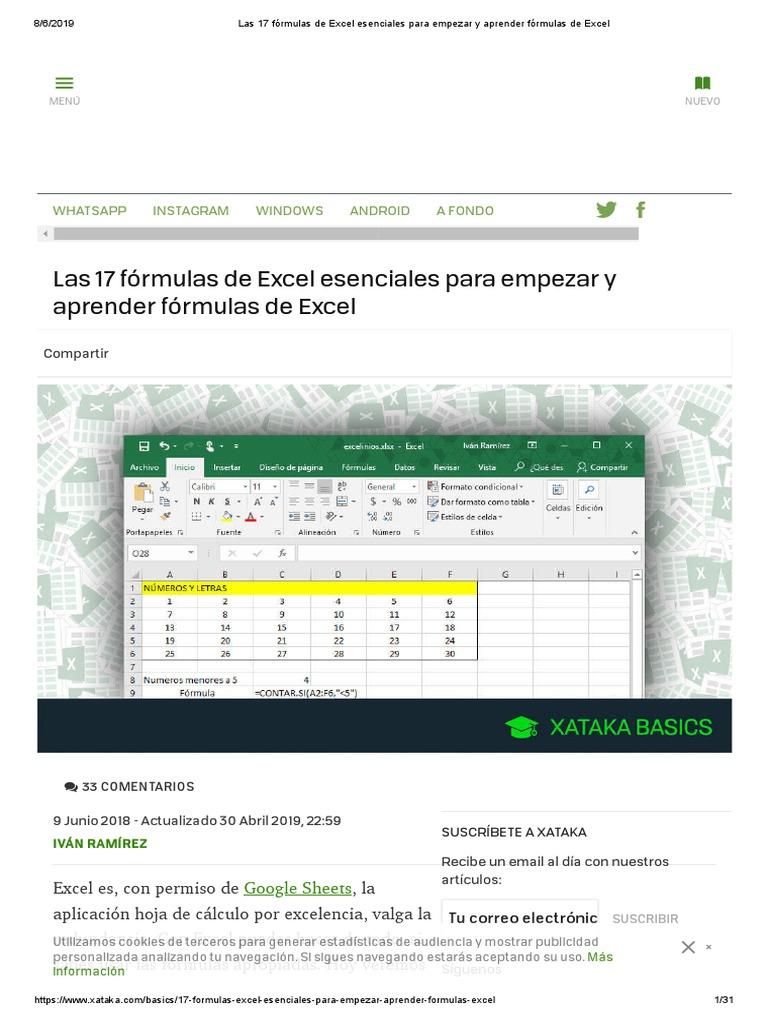 Las 20 Fórmulas de Excel Esenciales Para Empezar y Aprender ...