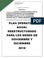 Plan Operativo Restructurado Para Los Meses de Nov y Dic 2018