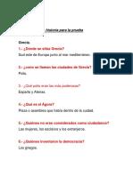Cuestionario de Historia Para La Prueba Grecia y Roma.