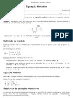 Equação Modular - Matemática