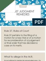 Post Judgment Remedies