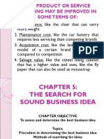 Chapter 5 the Search for Sound Business Idea