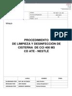 Plan de Trabajo Para Limpieza de Cisterna CI 400 m3 - Ate Rev 01