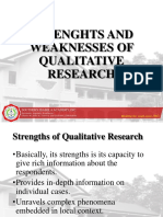 Strenghts and Weaknesses of Qualitative Research