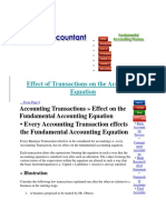 Effect of Transactions on the Accounting Equation