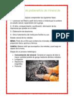 3.2 Proceso de Prebeneficio de Mineral de Fierro