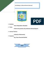Informe de Practica de Productos Làcteos(Yogurt Original