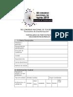 formulario inscripción congreso NACIONAL DE TEATRO 2019
