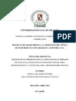 Estudio de Factibilidad Para La Creación de Un Gimnasio Infantil en La Ciudad de San Francisco de Milagro, Perteneciente Al Cantón Milagro - Provincia Del Guayas