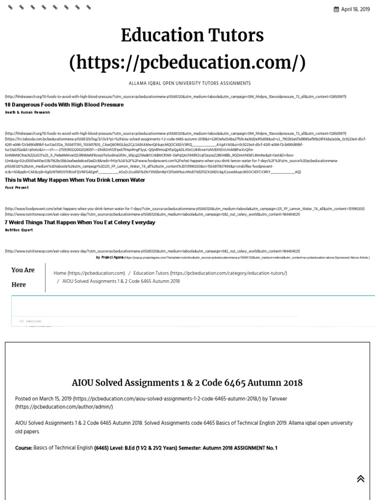 AIOU Solved Assignments 1 & 2 Code 6465 Autumn 2018 _ Education
