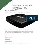 Configuracion de Modem y Router Pirelli