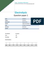 9.1 - Electrolysis 1c - Edexcel Igcse 9-1 Chemistry Qp-1