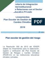 SED LINEAMIENTOS PLAN ESCOLAR DE GESTIÓN DE RIESGOS Y CAMBIO CLIMÁTICO. MAYO, 2019