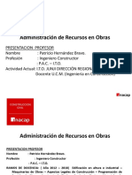 ADMINISTRACION DE RECURSOS EN OBRAS 672-6D MATERIA PRUEBA N°1