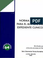 Norma para el manejo de expediente clinico