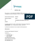 Certificado de Juanchis