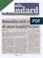 Manila Standard, June 10, 2019, Romualdez seeks creation of cancer hospita for poor.pdf
