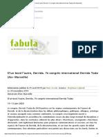 CFP Derrida Today 2020 (Deadline 20nov, Congreso 10-13jun)