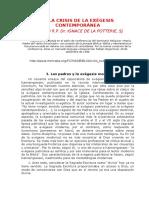 LA CRISIS DE LA EXÉGESIS CONTEMPORÁNEA - Ignace de la Pottierie