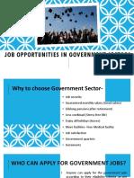 Job Opportunities in Govt Sectors