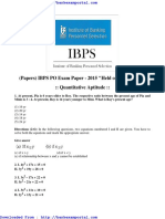Ibps Po Papers Quantitative Aptitude Held on 11-06-2015