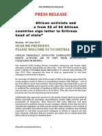 Eritrea Solidarity Press Release