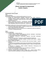 Szczegółowe Wymagania Programowe Studia I Stopnia
