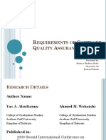 Requirements of Software Quality Assurance Model New