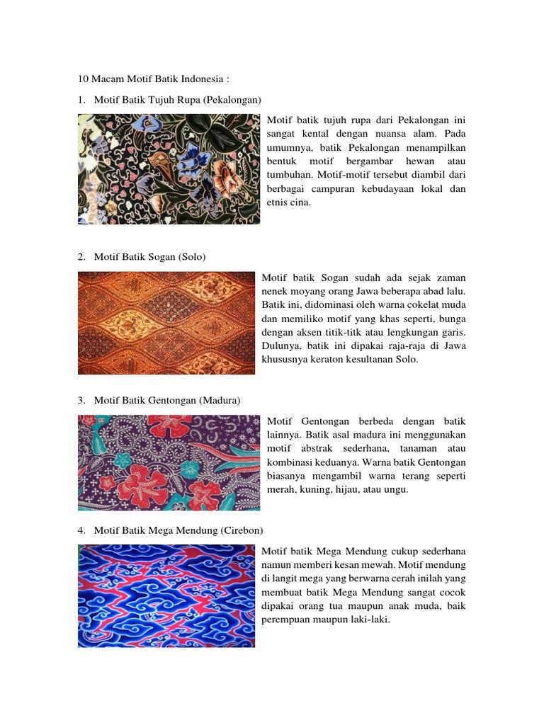 10 Macam Motif Batik Indonesia