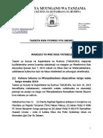 Press Release Maagizo Ya Rais