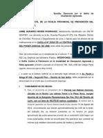 Denuncia de Usurpación Agravada Morin-NN-LOS SAUCES
