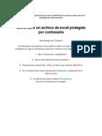 Como Abrir Un Archivo de Excel Protegido Por Contraseña