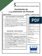 Bio Rio 2013 Iabas Rj Assistente Do Departamento de Pessoal Prova