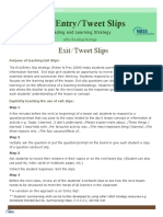 Exit-Entry Slip - Comprehension Strategy Handout Copy 2 0