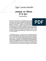 Lacoue-Labarthe - Remarque Sur Adorno Et Le Jazz